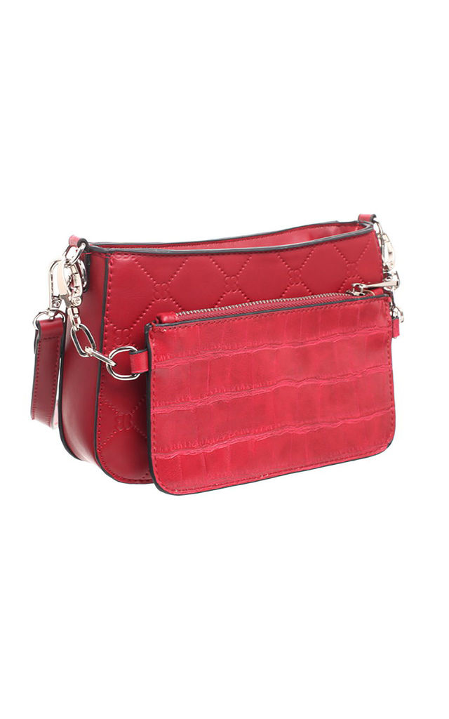 TWO PIECE SET CROC PRINT CROSS BODY BAG RED by BESSIE LONDON