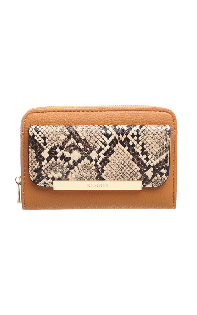 SNAKE PRINT FRONT POCKET PURSE by BESSIE LONDON