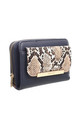 SNAKE PRINT FRONT POCKET PURSE NAVY by BESSIE LONDON