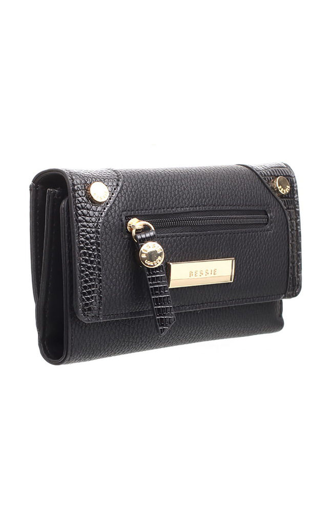 SMALL LIZARD EFFECT FLAP OVER PURSE BLACK by BESSIE LONDON
