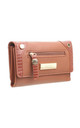 SMALL LIZARD EFFECT FLAP OVER PURSE TAN by BESSIE LONDON