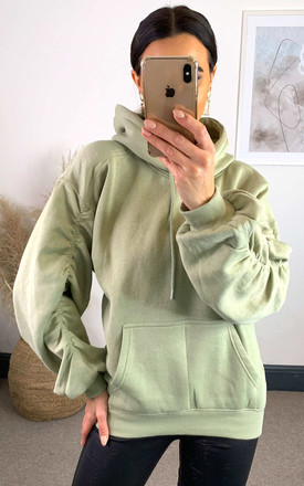 Mint Hoodie With Ruched Sleeve by The ModestMe Collection