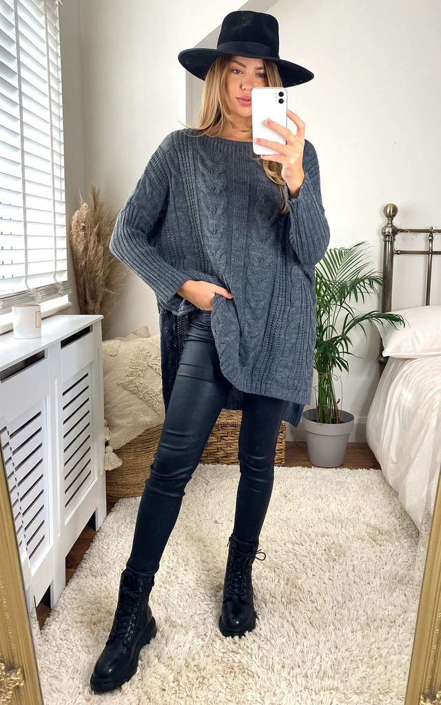 Oversized Knitted Jumper In Charcoal by Aftershock London