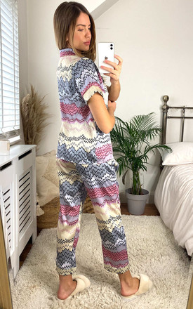 Aztec Print Pyjama Set in Multicolour by Gini London