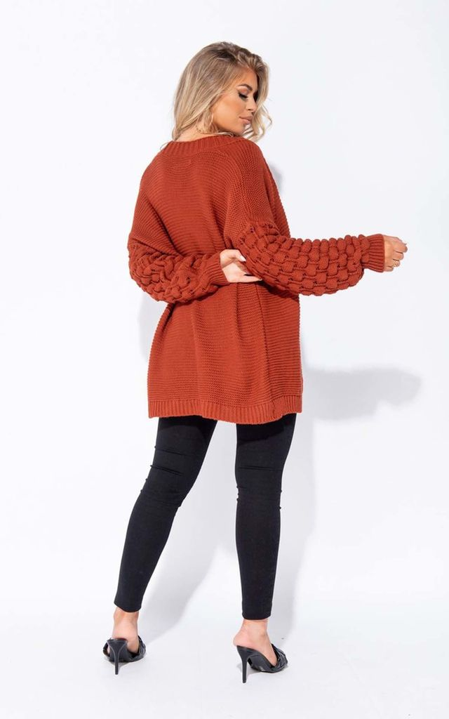 Rust Contrast Sleeve Oversized Cardigan by Parisian Fashion