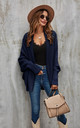 Chunky Pleat Oversized Cardigan In Navy by FS Collection