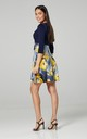 Women's Maternity Nursing Skater Tunic Mini Dress 3/4 Sleeves 603 Navy & Graphite with Yellow Flowers by Chelsea Clark