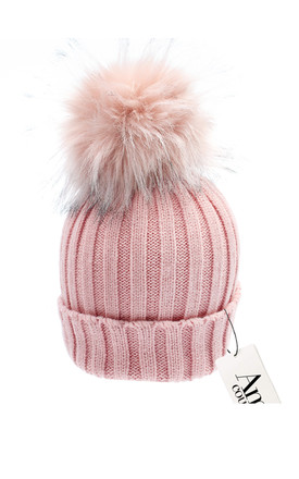 Luxe candy cable knit hat with detachable large pink faux pom by AMO