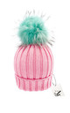 Luxe pink cable knit hat with detachable large mint faux pom by AMO