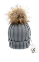 Luxe grey cable knit hat with detachable tan faux pom by AMO