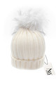 Luxe ivory cable knit hat with detachable pure white faux pom by AMO
