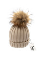 Luxe tan cable knit hat with detachable large tan faux pom by AMO