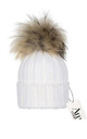 Luxe white cable knit hat with detachable large tan faux pom by AMO