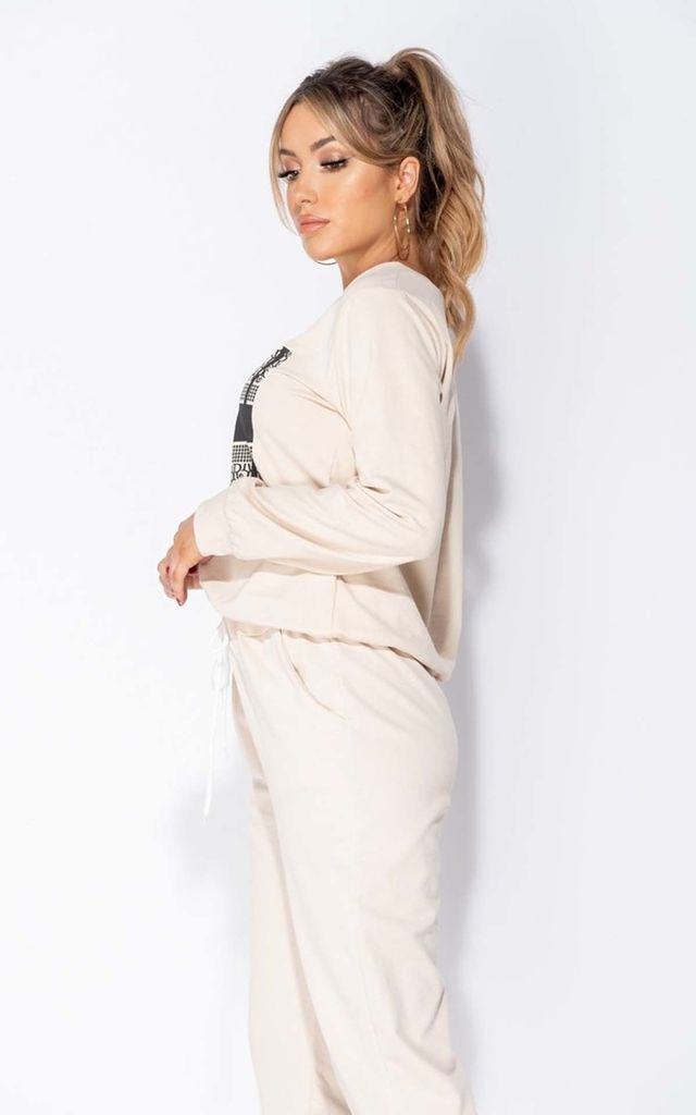 Beige Dor Logo Print Sweatshirt & Joggers Lounge Set by Parisian Fashion