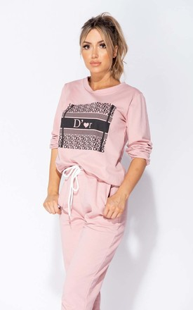 Rose Dor Logo Print Sweatshirt & Joggers Lounge Set by Parisian Fashion