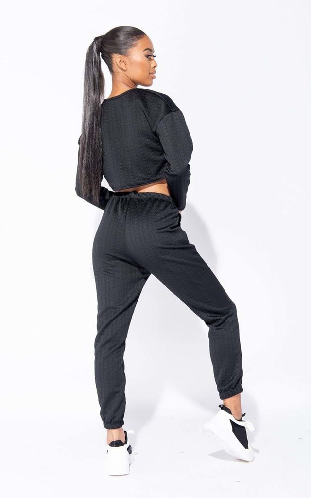 Black Quilted Zip Trim Cropped Jumper & Jogger Loungewear Set by Parisian Fashion