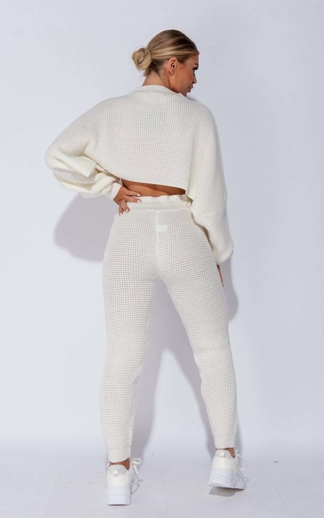 Off White Waffle Knit Cropped Jumper Lounge Set by Parisian Fashion