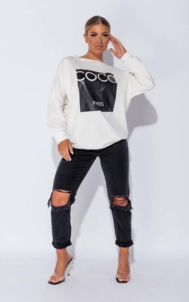 Off White Coco Print Oversized Sweatshirt by Parisian Fashion