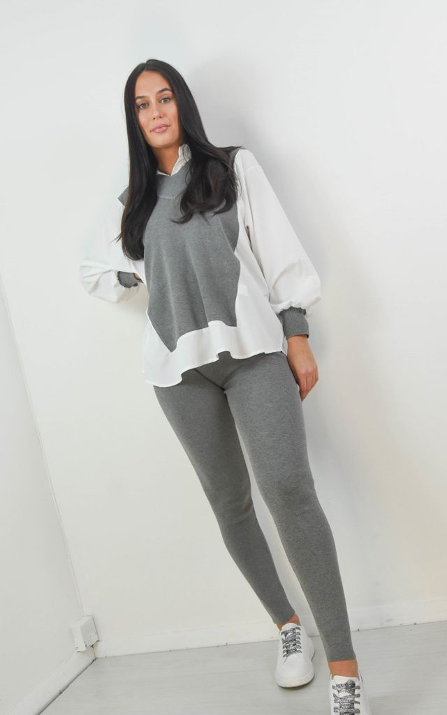 Grey Jumper Shirt With Legging Co-ord Set by Boutique Store