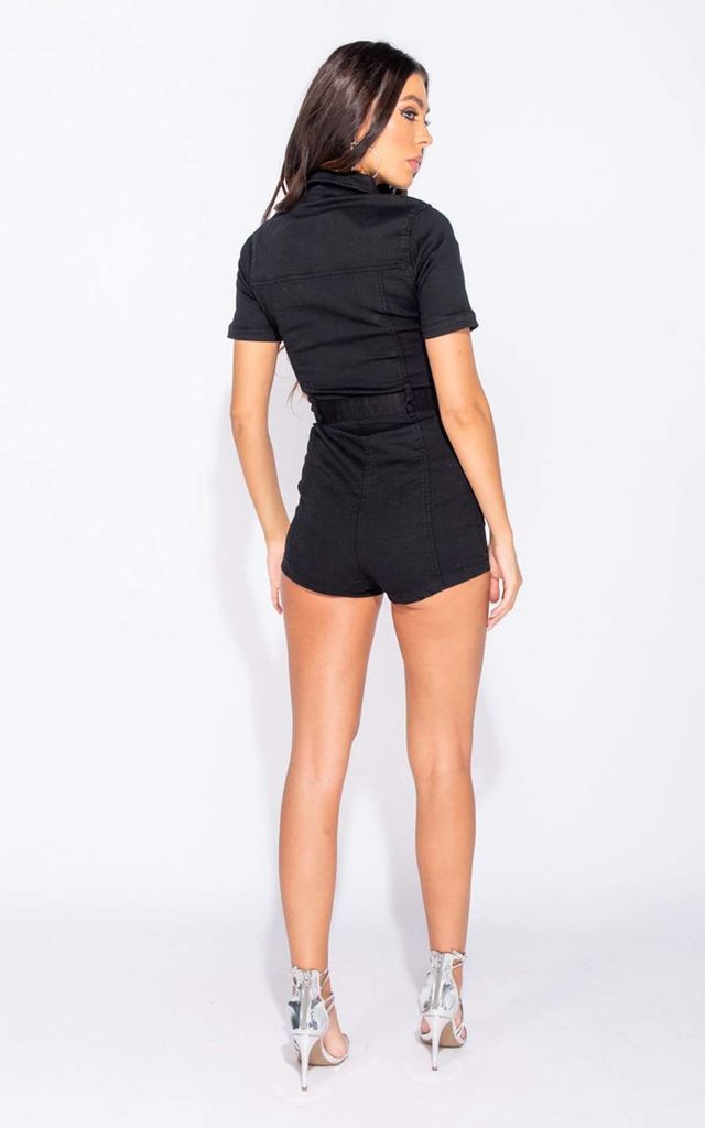 Black Zip Front Short Sleeve Stretch Denim Playsuit by Parisian Fashion