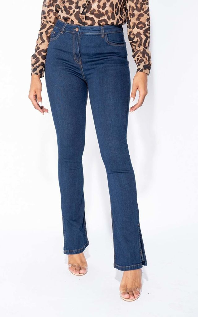 Indigo Side Slit Detail High Waist Flared Jeans by Parisian Fashion