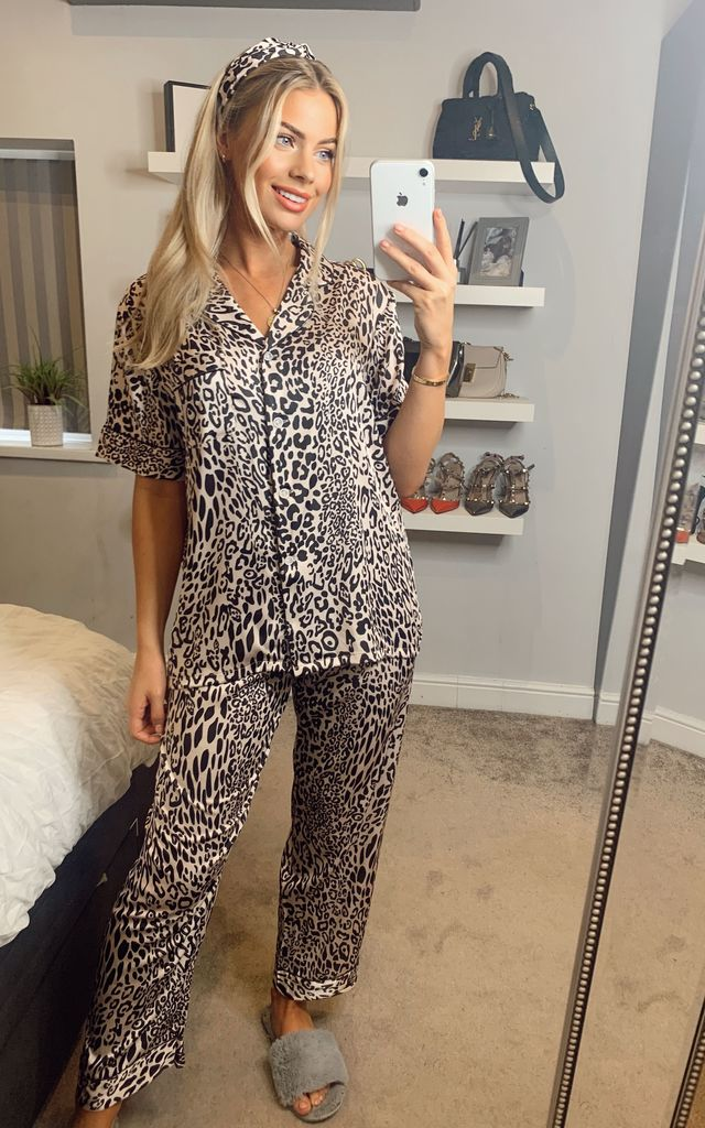 Leopard Printed Satin Short Sleeves Pyjamas & Headband in White by ANGELEYE