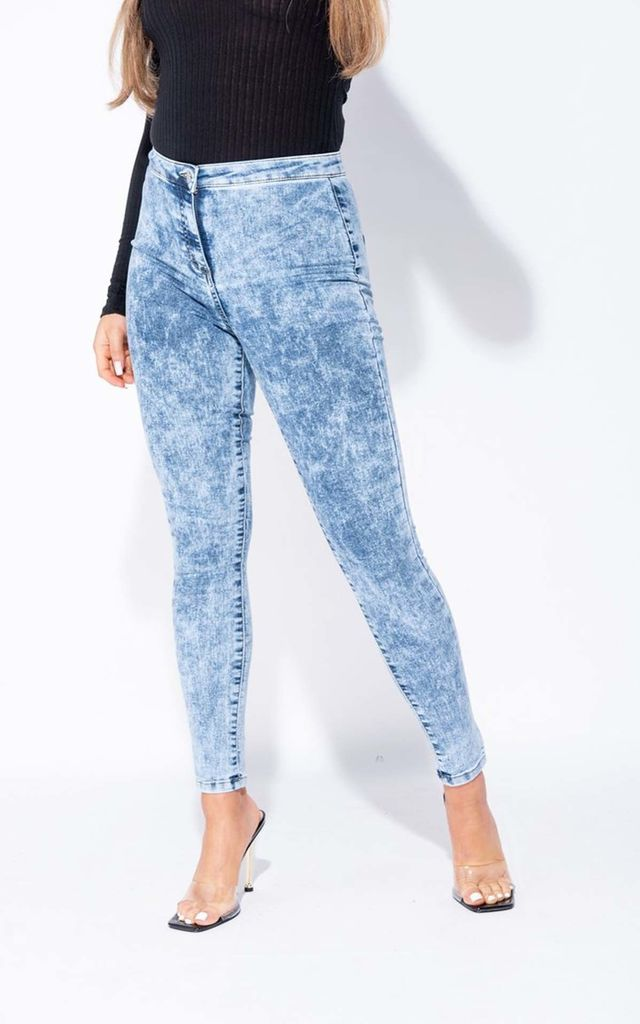 Mid Blue Acid High Waisted Skinny Jegging by Parisian Fashion
