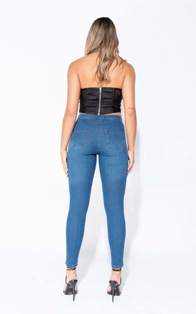 Mid Blue Wash Knee Slash High Waisted Jegging by Parisian Fashion