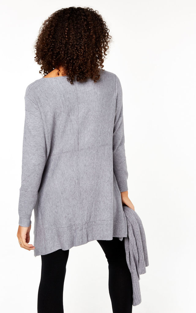 Grey Knitted Scarf Jumper Dress by Gini London
