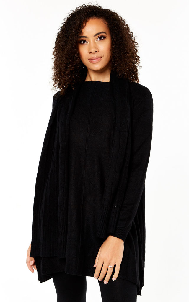 Black Knitted Scarf Jumper Dress by Gini London