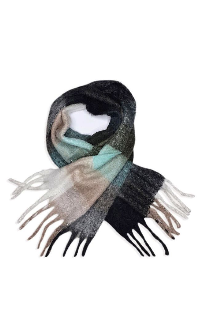 Tess Check Print Scarf in Grey by IKRUSH