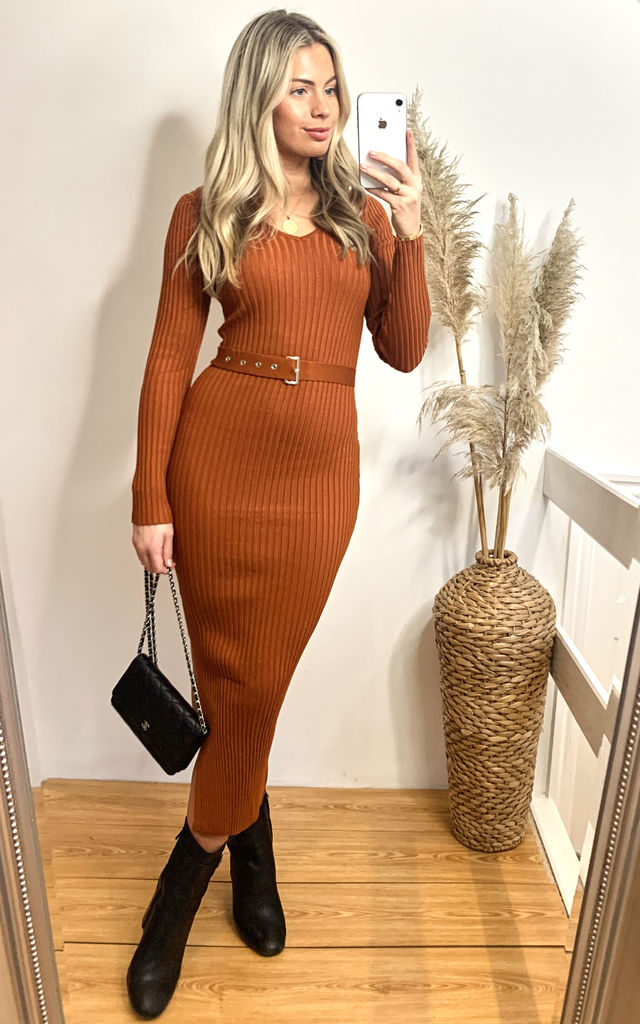 Soft knitted ribbed long bodycon dress with side split by CY Boutique