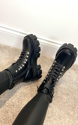 Chunky Lace Up Boots With Ankle Strap In Black by Truffle Collection Product photo