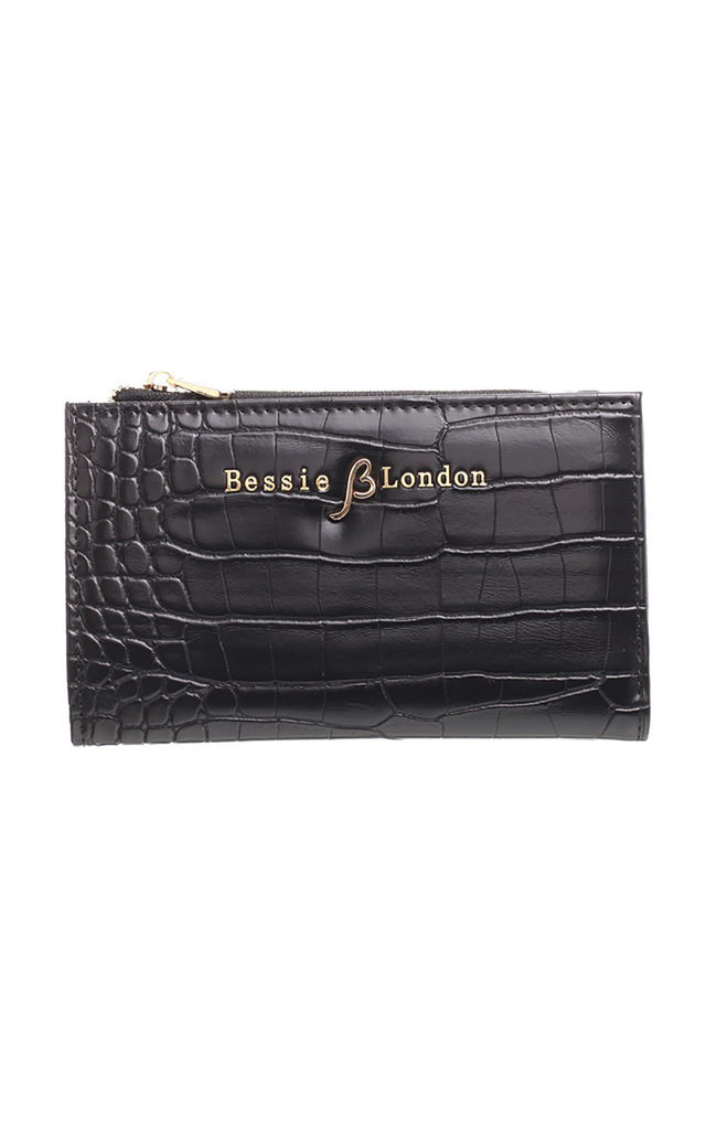SMALL CROC PRINT CARD HOLDER PURSE GREEN BLACK by BESSIE LONDON
