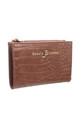SMALL CROC PRINT CARD HOLDER PURSE COFFEE by BESSIE LONDON