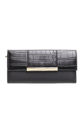 CROC PRINT FLAP OVER PURSE BLACK by BESSIE LONDON
