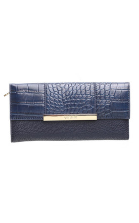 CROC PRINT FLAP OVER PURSE NAVY by BESSIE LONDON