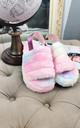 Fluffy Faux Fur Back Strap Slide Slippers in Rainbow by ANGELEYE
