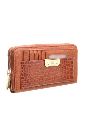 CROC PRINT WALLET WITH DETACHABLE CARD HOLDER by BESSIE LONDON