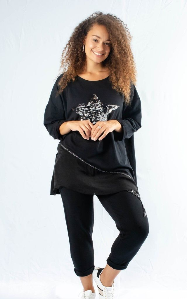 Oversized Sequence Star Top & Joggers Set In Black by Pinstripe