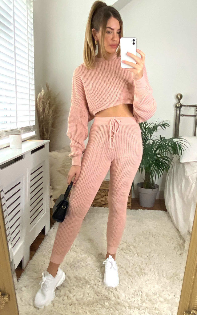 Pink loungewear Knitted Co ord Set with cropped jumper by Jenerique
