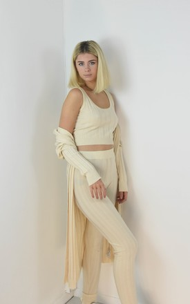 3 Piece Ribbed Knit Loungewear Co-ord Set In Cream by Boutique Store