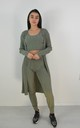 3 Piece Ribbed Knit Loungewear Co-ord Set In Green by Boutique Store