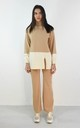 Colour Block Roll Neck Jumper & Wide Leg Set In Camel by Boutique Store