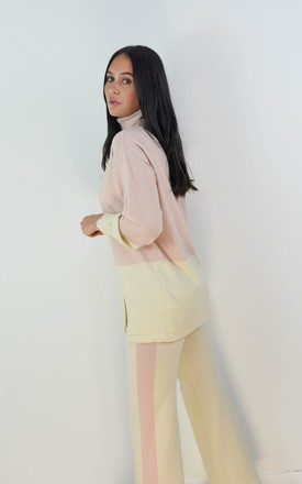 Colour Block Roll Neck Jumper & Wide Leg Set In Pink by Boutique Store