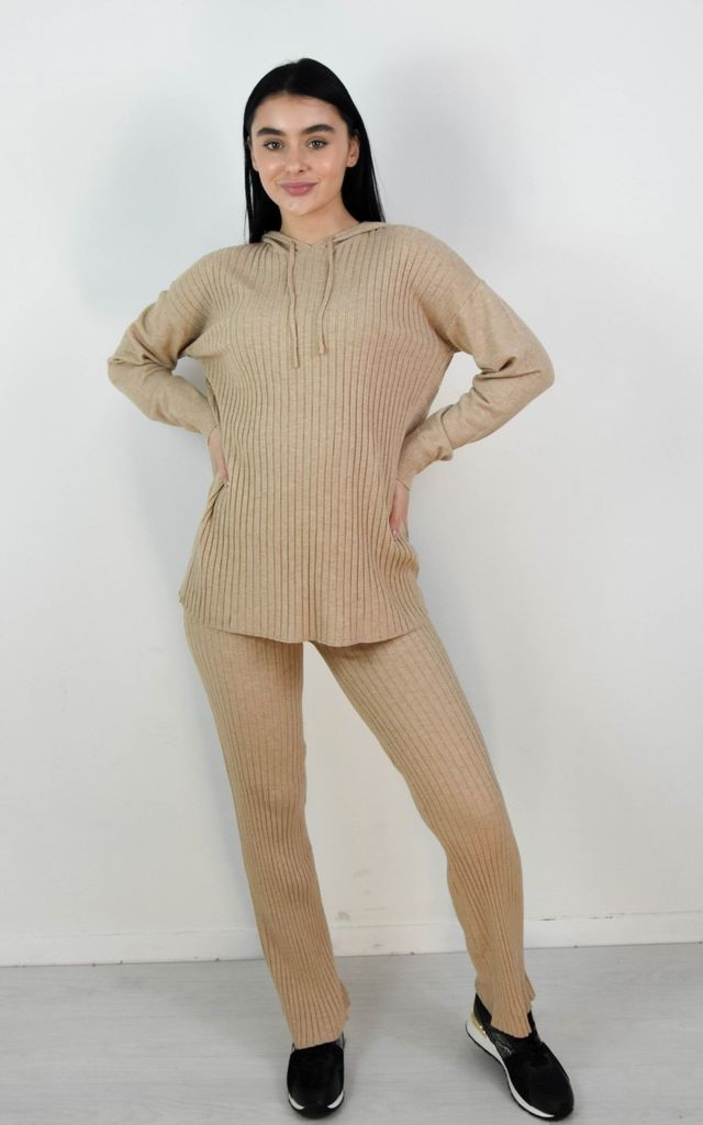 Beige Rib Knitted Hoodie & Wide Leg Lounge Set by Boutique Store