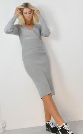 Wrap Crossover Front Jumper & Midi Skirt Set In Grey by Boutique Store
