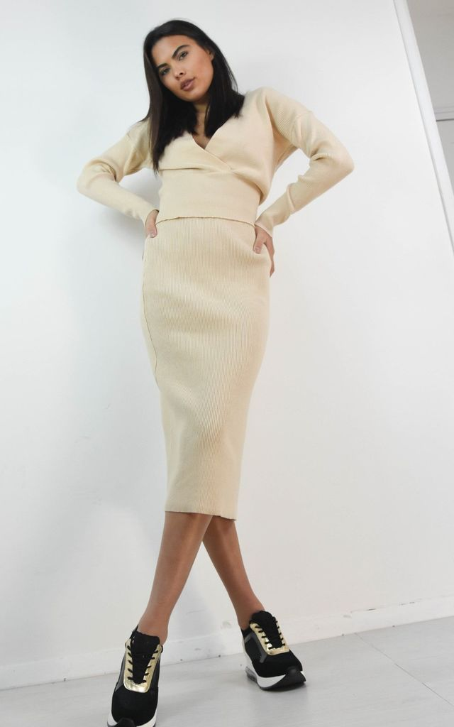 Cream Wrap Crossover Front Jumper & Midi Skirt Se by Boutique Store