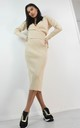 Wrap Crossover Front Jumper & Midi Skirt Set In Cream by Boutique Store