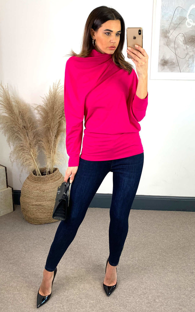 High Neck Asymmetric Stretch Top in Fuchsia Pink by House Of Lily